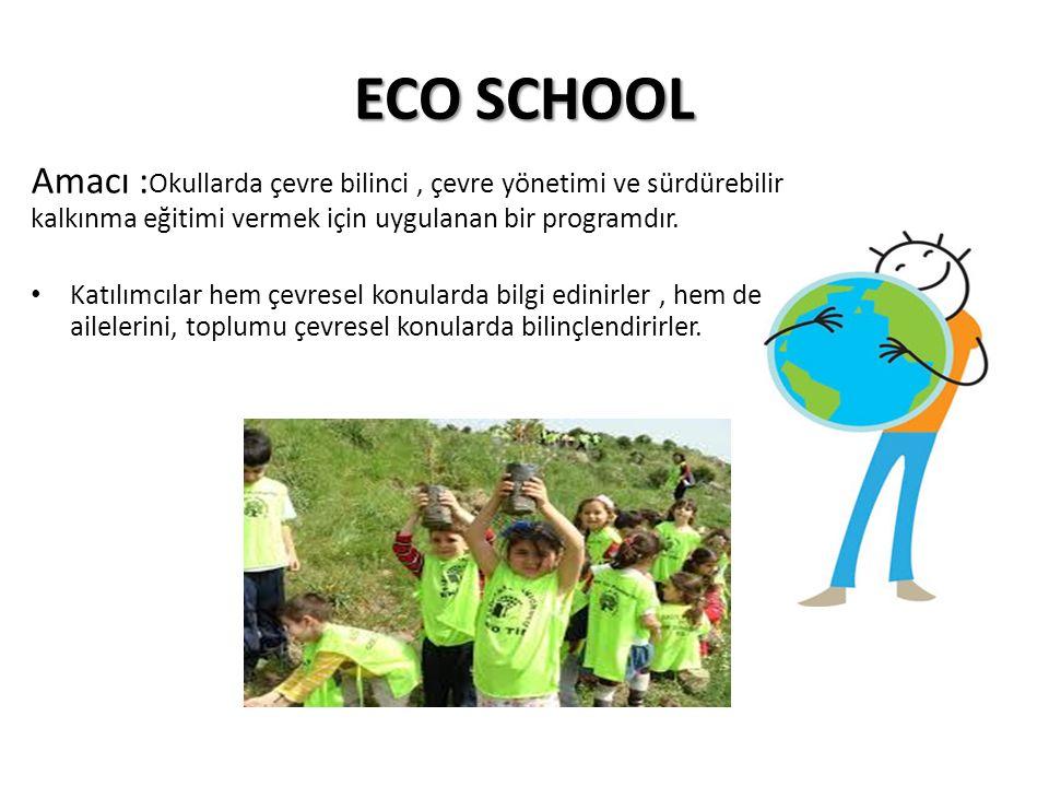 ECO SCHOOL Amacı : Okullarda çevre bilinci, çevre yönetimi ve sürdürebilir kalkınma eğitimi vermek için uygulanan bir programdır.