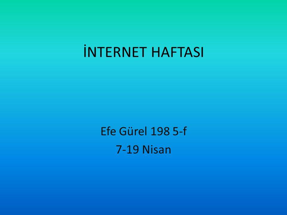 İNTERNET HAFTASI Efe Gürel 198 5-f 7-19 Nisan
