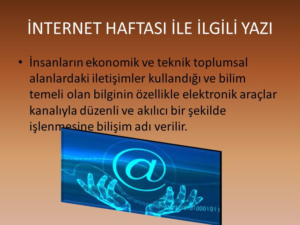 İZMİR'DE İNTERNET HAFTASI ETKİNLİKLERİ Türkiye internet haftası 2015'de geniş bir katılım ile start aldı.Ekonomik bakanı Nihat Zeybekçi İzmir valisi M