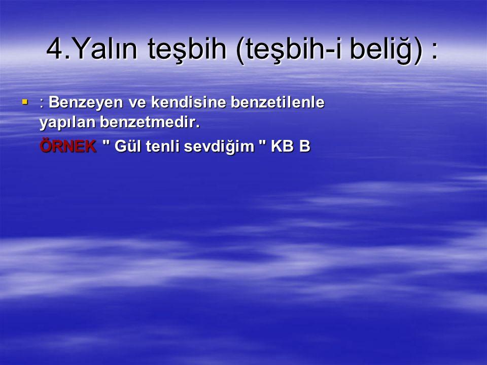4.Yalın teşbih (teşbih-i beliğ) :  : Benzeyen ve kendisine benzetilenle yapılan benzetmedir.