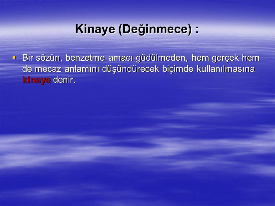 Kinaye (Değinmece) :  Bir sözün, benzetme amacı güdülmeden, hem gerçek hem de mecaz anlamını düşündürecek biçimde kullanılmasına kinaye denir.
