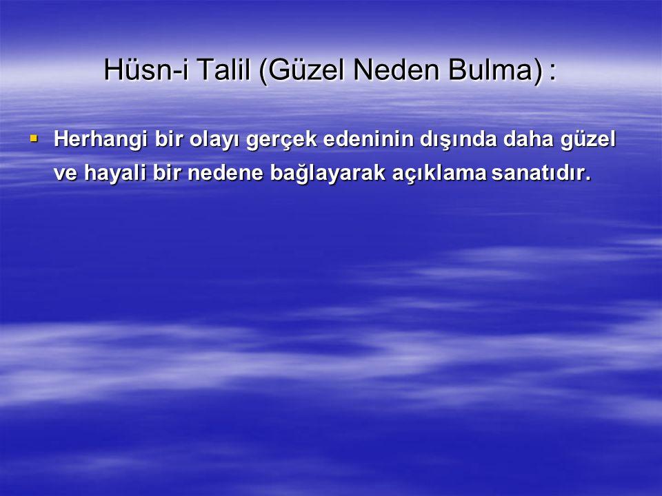 Hüsn-i Talil (Güzel Neden Bulma) :  Herhangi bir olayı gerçek edeninin dışında daha güzel ve hayali bir nedene bağlayarak açıklama sanatıdır.