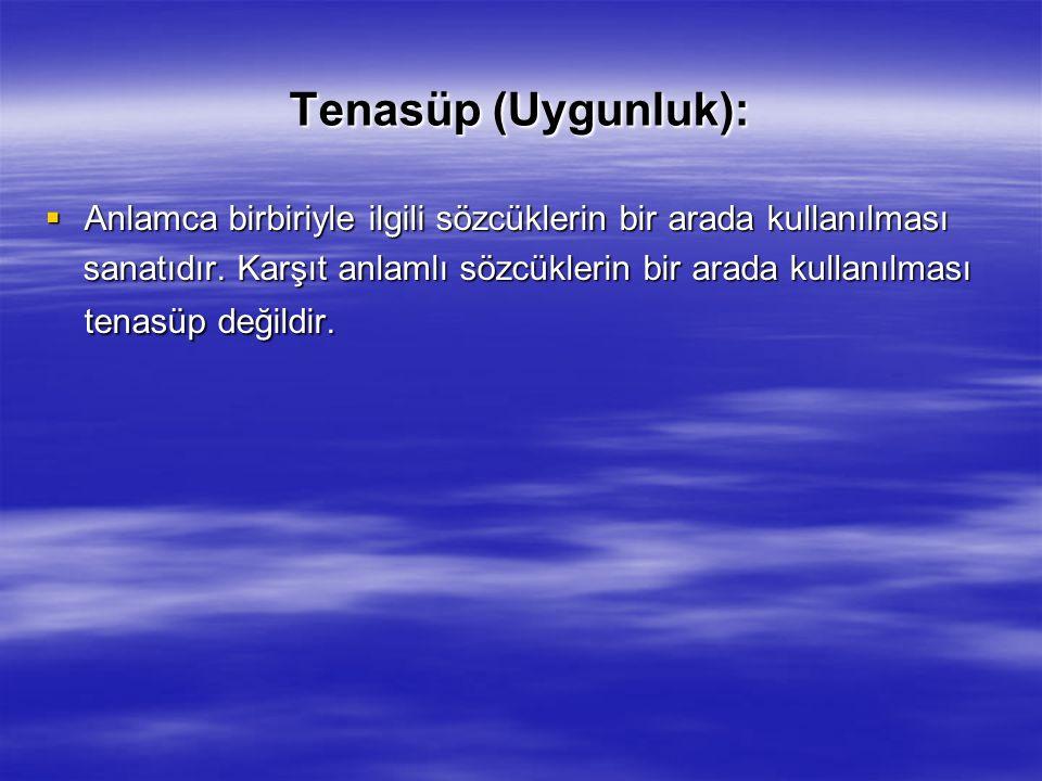 Tenasüp (Uygunluk):  Anlamca birbiriyle ilgili sözcüklerin bir arada kullanılması sanatıdır.