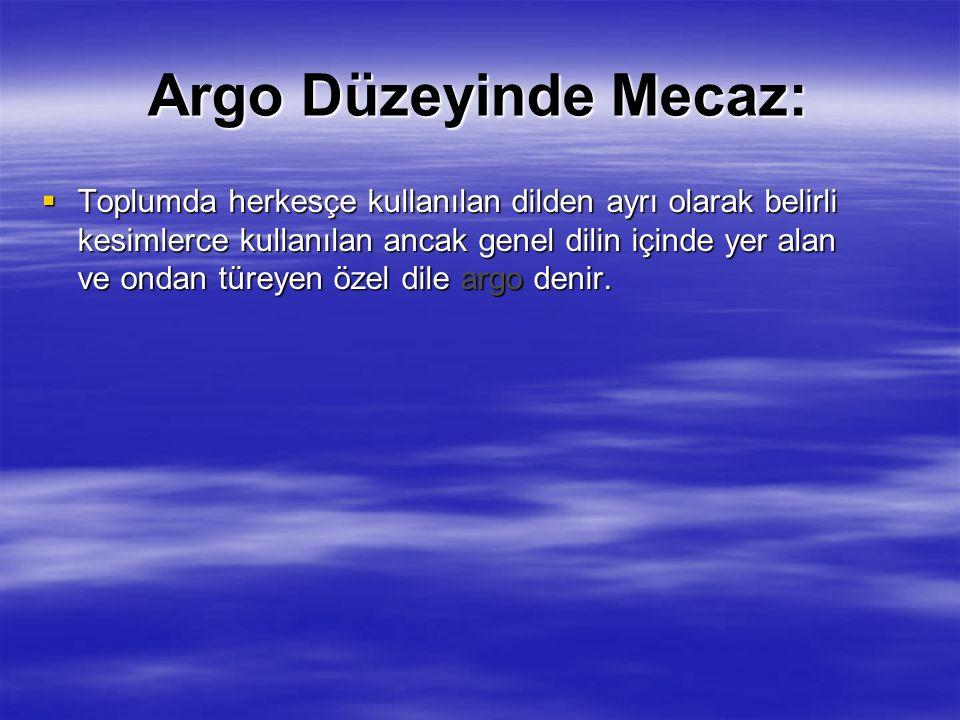 Argo Düzeyinde Mecaz:  Toplumda herkesçe kullanılan dilden ayrı olarak belirli kesimlerce kullanılan ancak genel dilin içinde yer alan ve ondan türeyen özel dile argo denir.