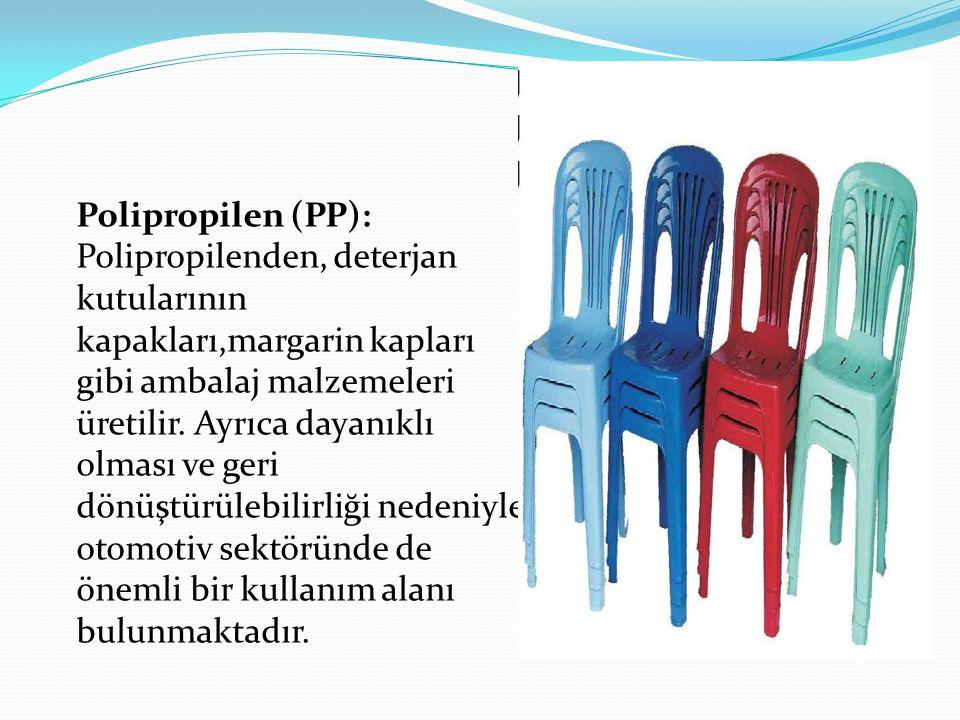 Polipropilen (PP): Polipropilenden, deterjan kutularının kapakları,margarin kapları gibi ambalaj malzemeleri üretilir. Ayrıca dayanıklı olması ve geri