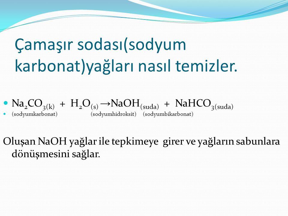Çamaşır sodası(sodyum karbonat)yağları nasıl temizler. Na 2 CO 3(k) + H 2 O (s) → NaOH (suda) + NaHCO 3(suda) (sodyumkarbonat) (sodyumhidroksit) (sody