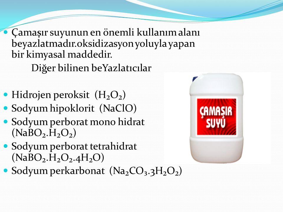 Çamaşır suyunun en önemli kullanım alanı beyazlatmadır.oksidizasyon yoluyla yapan bir kimyasal maddedir. Diğer bilinen beYazlatıcılar Hidrojen peroksi