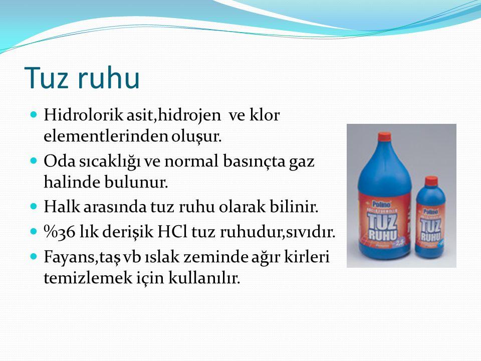 Tuz ruhu Hidrolorik asit,hidrojen ve klor elementlerinden oluşur. Oda sıcaklığı ve normal basınçta gaz halinde bulunur. Halk arasında tuz ruhu olarak