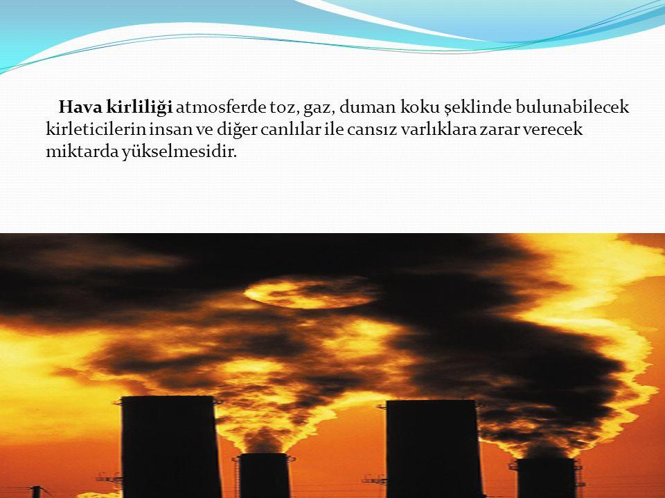 Hava kirliliği atmosferde toz, gaz, duman koku şeklinde bulunabilecek kirleticilerin insan ve diğer canlılar ile cansız varlıklara zarar verecek mikta