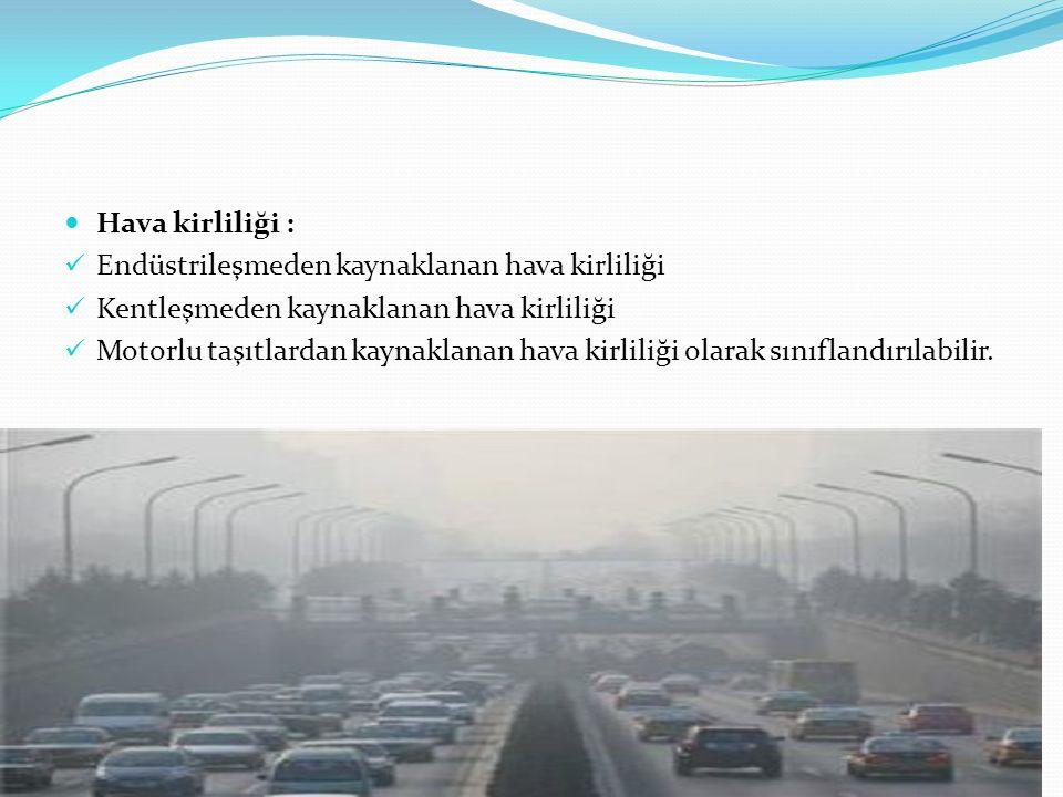 Hava kirliliği : Endüstrileşmeden kaynaklanan hava kirliliği Kentleşmeden kaynaklanan hava kirliliği Motorlu taşıtlardan kaynaklanan hava kirliliği ol