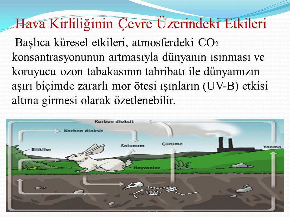 Hava Kirliliğinin Çevre Üzerindeki Etkileri Başlıca küresel etkileri, atmosferdeki CO 2 konsantrasyonunun artmasıyla dünyanın ısınması ve koruyucu ozo