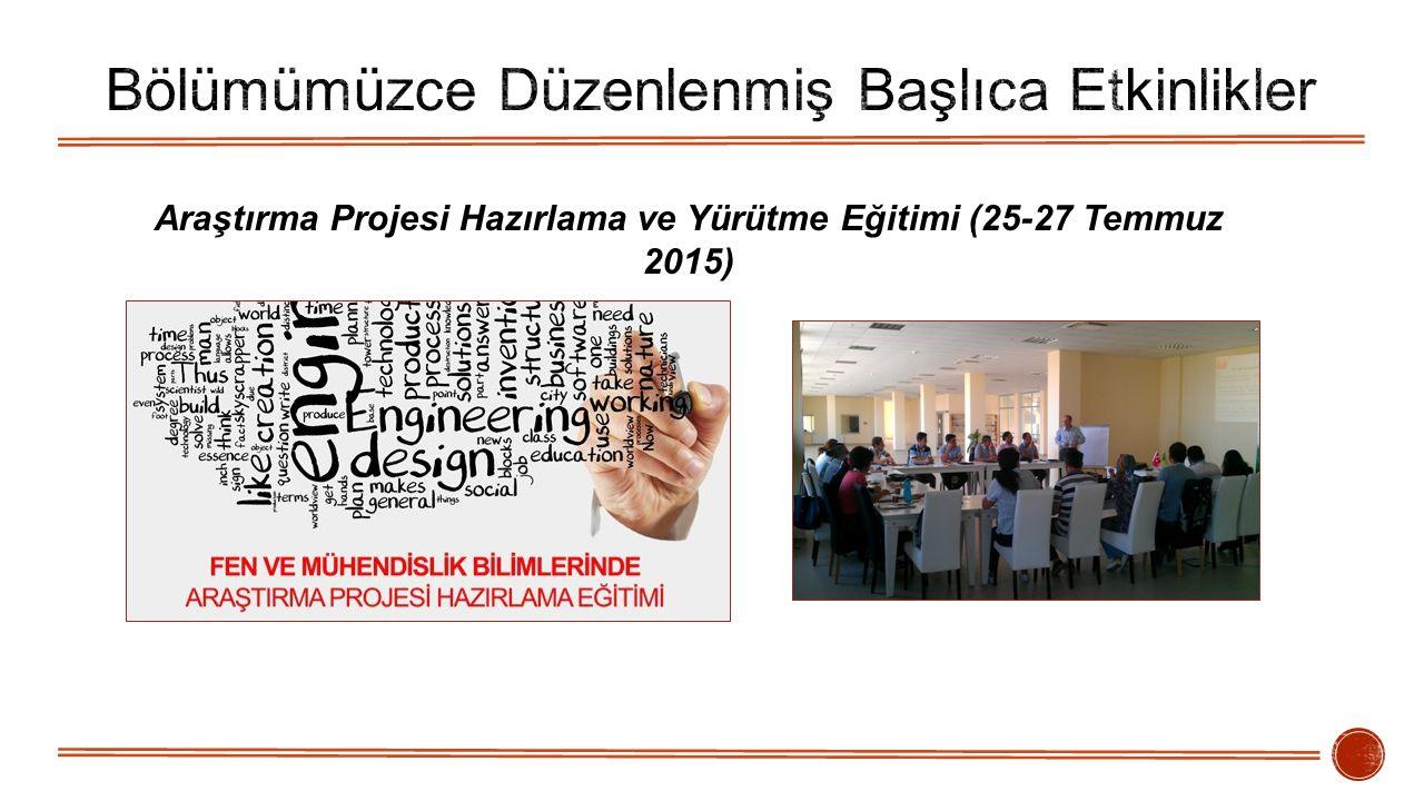Araştırma Projesi Hazırlama ve Yürütme Eğitimi (25-27 Temmuz 2015)