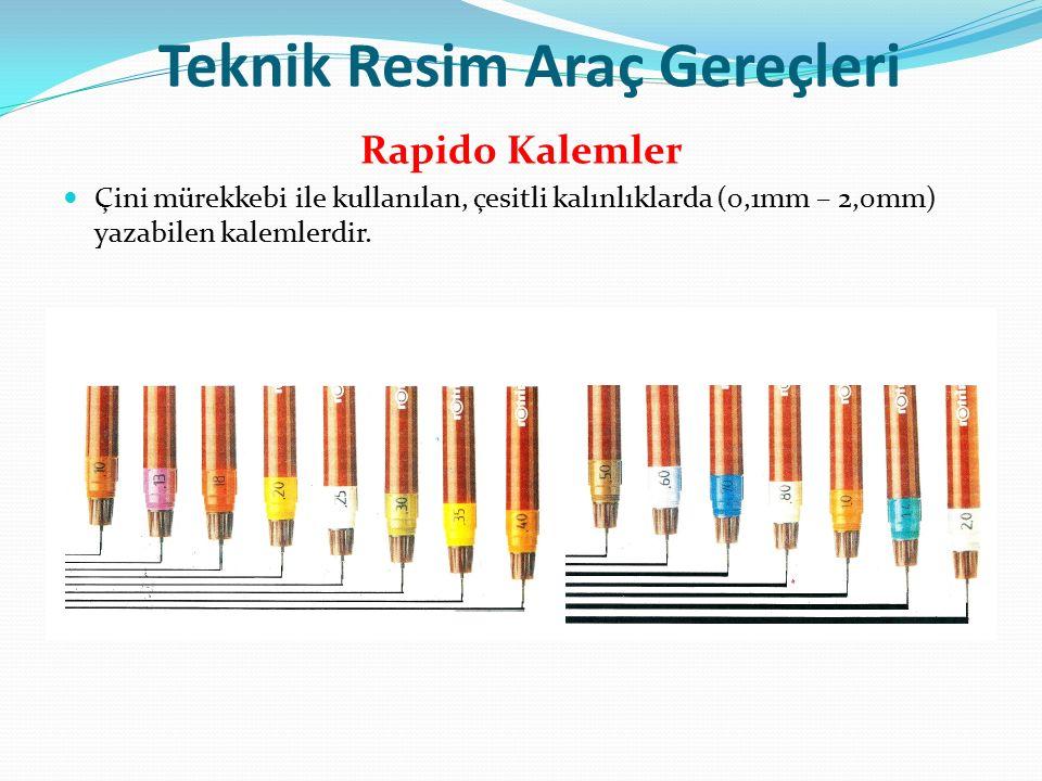 Teknik Resim Araç Gereçleri Rapido Kalemler Çini mürekkebi ile kullanılan, çesitli kalınlıklarda (0,1mm – 2,0mm) yazabilen kalemlerdir.