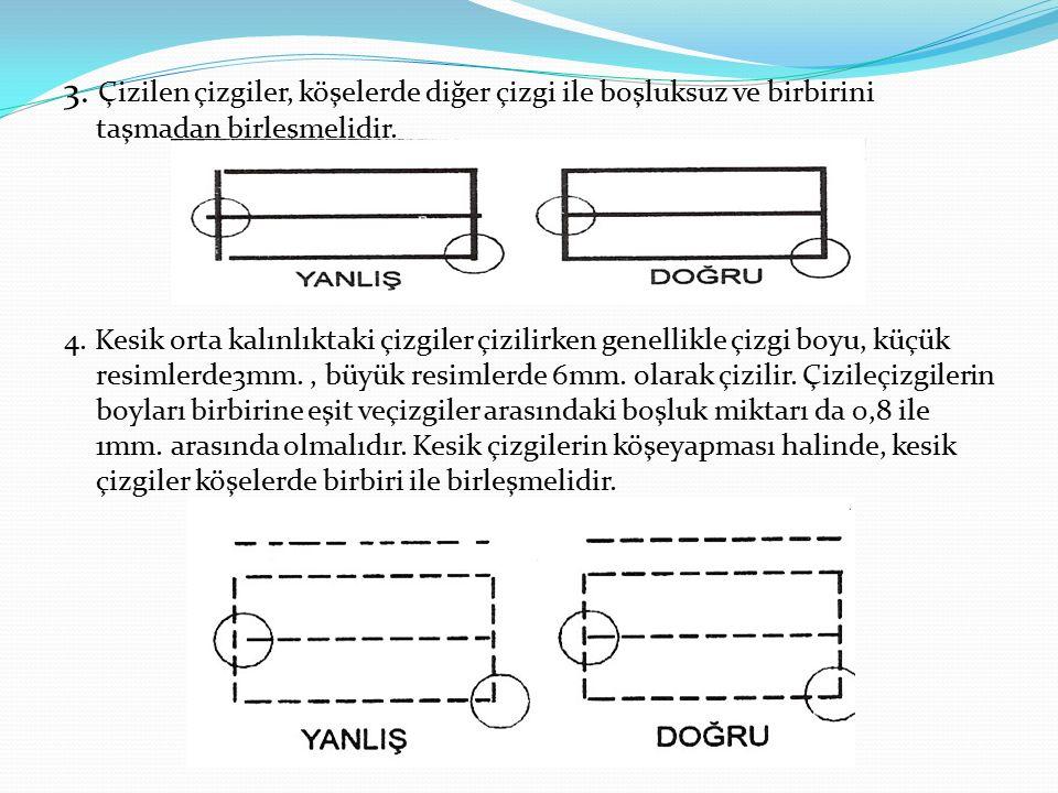 3.Çizilen çizgiler, köşelerde diğer çizgi ile boşluksuz ve birbirini taşmadan birleşmelidir.