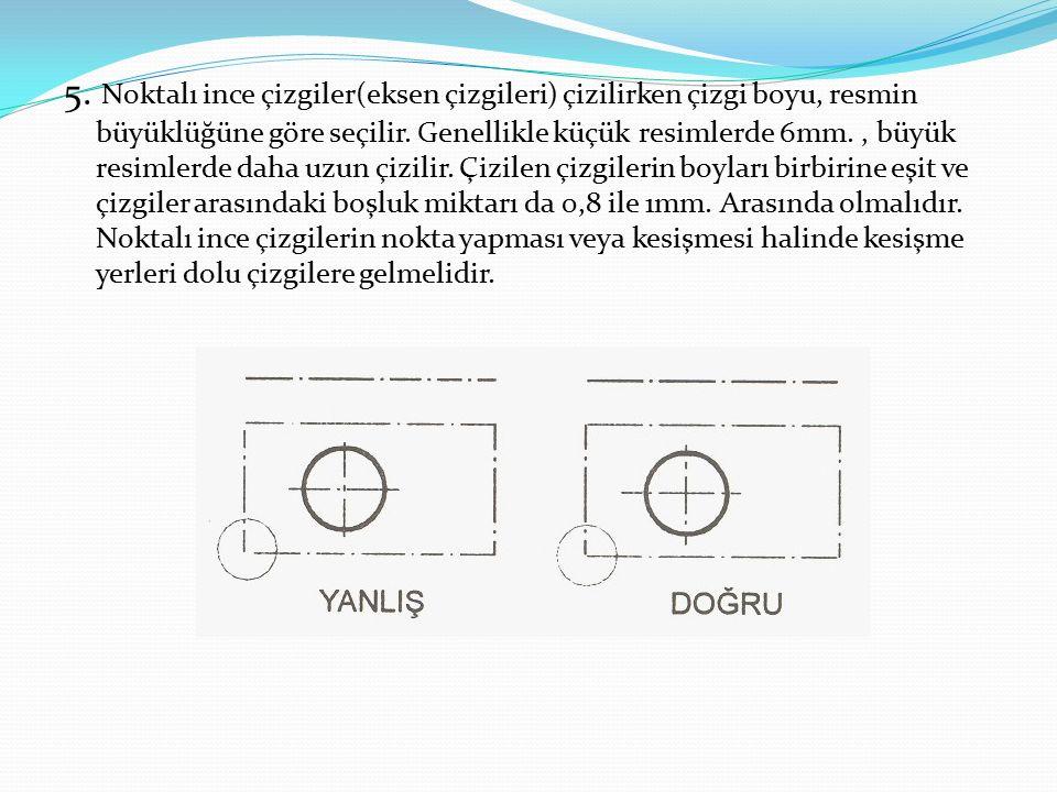 5.Noktalı ince çizgiler(eksen çizgileri) çizilirken çizgi boyu, resmin büyüklüğüne göre seçilir.