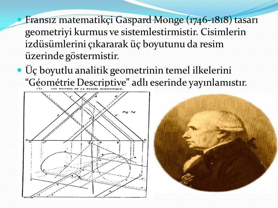 Fransız matematikçi Gaspard Monge (1746-1818) tasarı geometriyi kurmus ve sistemlestirmistir.