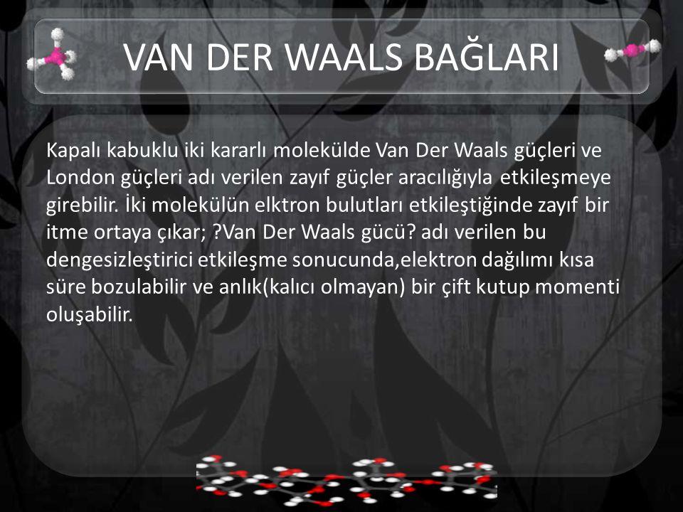 Kapalı kabuklu iki kararlı molekülde Van Der Waals güçleri ve London güçleri adı verilen zayıf güçler aracılığıyla etkileşmeye girebilir. İki molekülü
