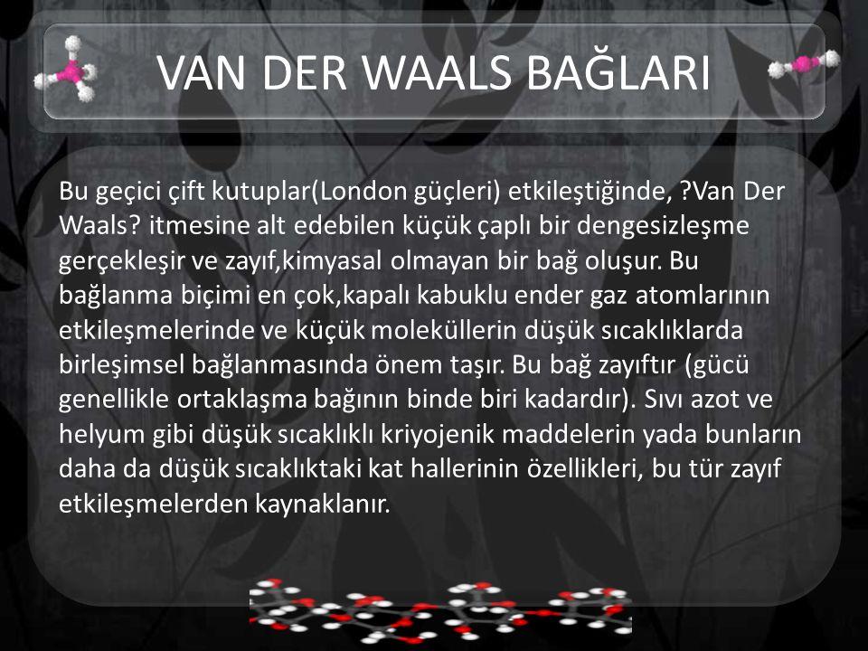 Bu geçici çift kutuplar(London güçleri) etkileştiğinde, ?Van Der Waals.