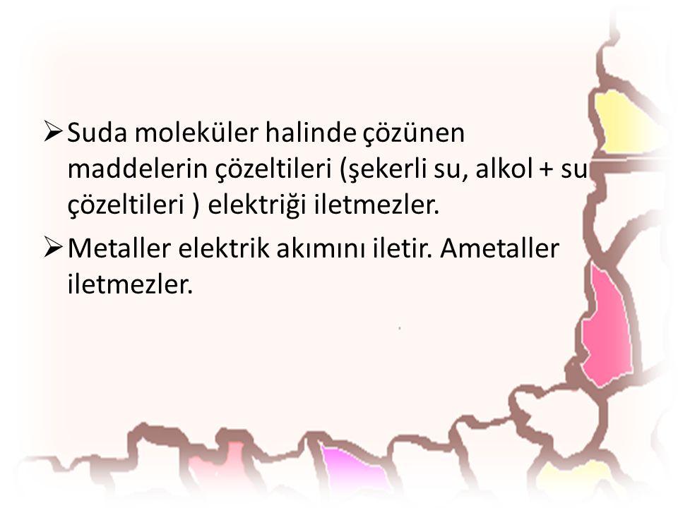  Suda moleküler halinde çözünen maddelerin çözeltileri (şekerli su, alkol + su çözeltileri ) elektriği iletmezler.  Metaller elektrik akımını iletir