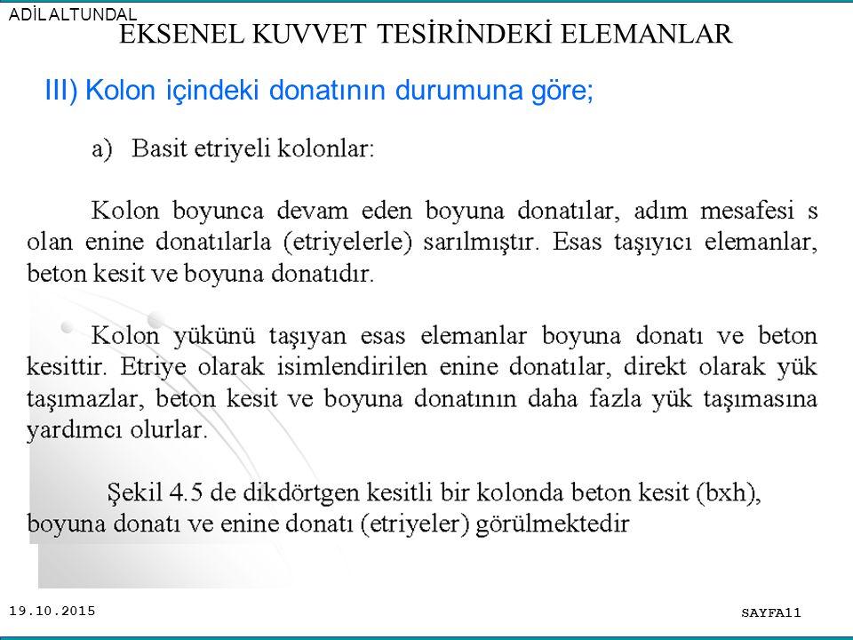 19.10.2015 SAYFA11 ADİL ALTUNDAL EKSENEL KUVVET TESİRİNDEKİ ELEMANLAR III) Kolon içindeki donatının durumuna göre;