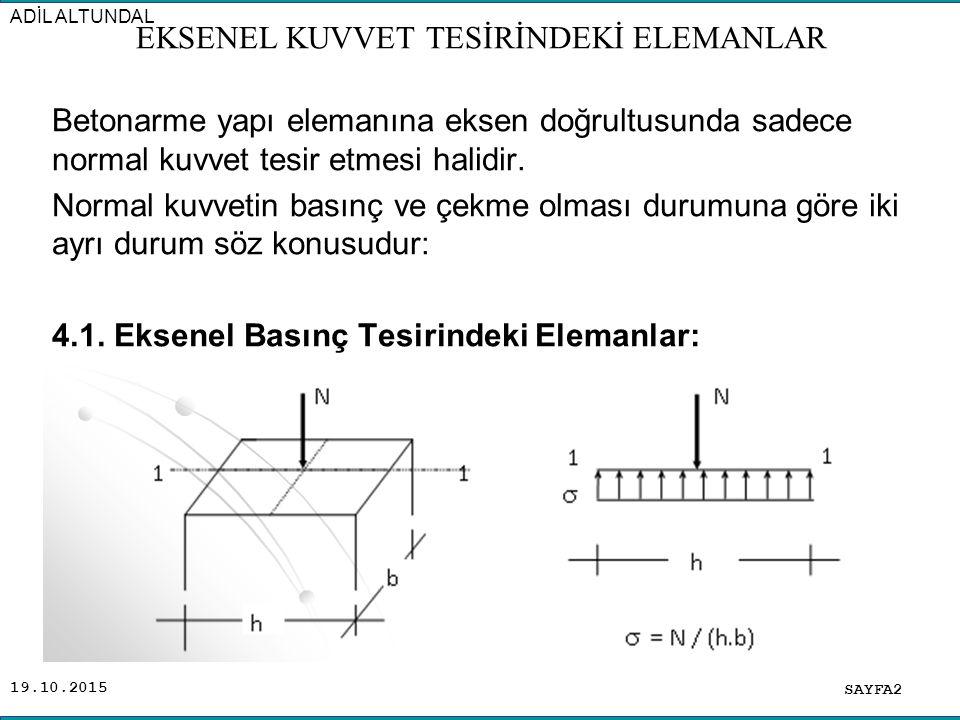 19.10.2015 Uygulamada, eksenel basınç tesirindeki elemanlar kolonlardır.