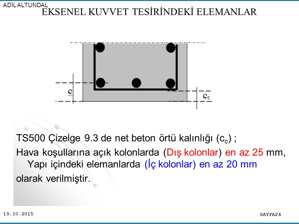 19.10.2015 TS500 Çizelge 9.3 de net beton örtü kalınlığı (c c ) ; Hava koşullarına açık kolonlarda (Dış kolonlar) en az 25 mm, Yapı içindeki elemanlar