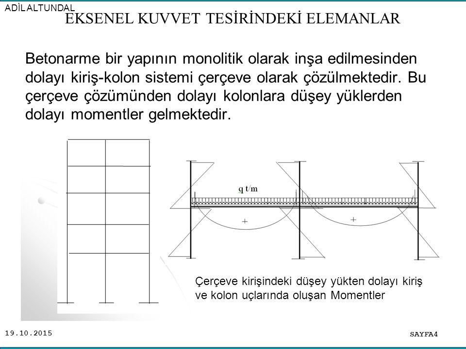 19.10.2015 Betonarme bir yapının monolitik olarak inşa edilmesinden dolayı kiriş-kolon sistemi çerçeve olarak çözülmektedir. Bu çerçeve çözümünden dol