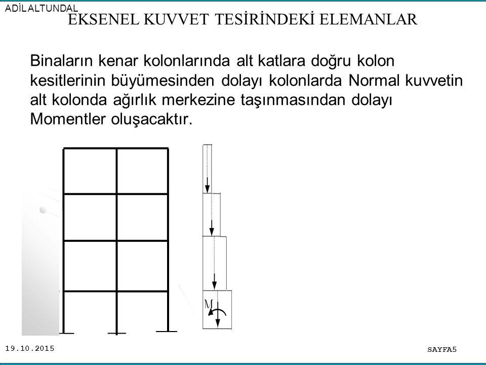 19.10.2015 Binaların kenar kolonlarında alt katlara doğru kolon kesitlerinin büyümesinden dolayı kolonlarda Normal kuvvetin alt kolonda ağırlık merkez