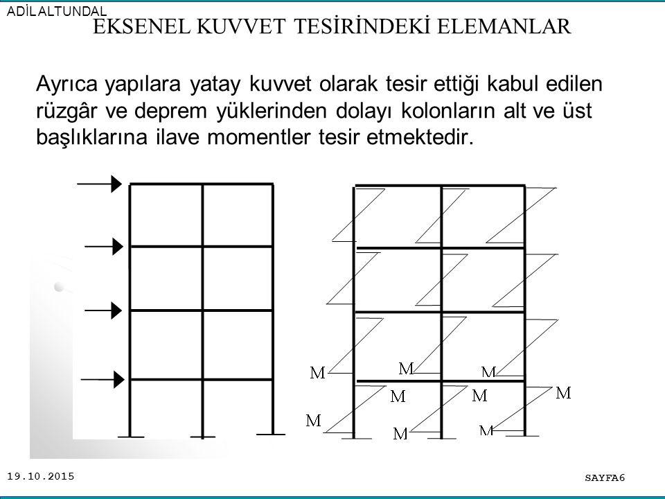 19.10.2015 Bütün bu sebeplerden dolayı yönetmelikler kolonların sadece (N) normal kuvvetine göre hesaplanmasına izin vermezler.