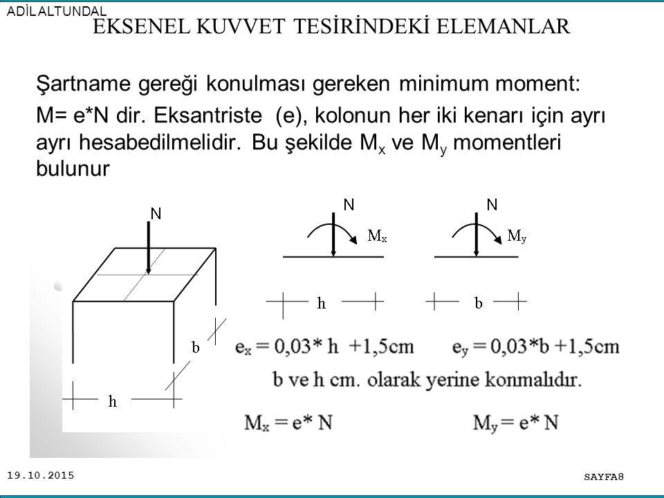 19.10.2015 Şartname gereği konulması gereken minimum moment: M= e*N dir. Eksantriste (e), kolonun her iki kenarı için ayrı ayrı hesabedilmelidir. Bu ş