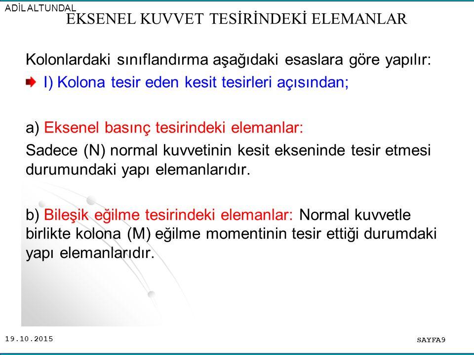 19.10.2015 Kolonlardaki sınıflandırma aşağıdaki esaslara göre yapılır: I) Kolona tesir eden kesit tesirleri açısından; a) Eksenel basınç tesirindeki e