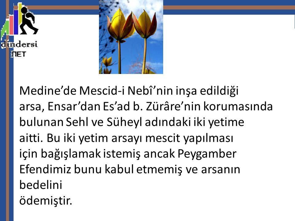 Medine'de Mescid-i Nebî'nin inşa edildiği arsa, Ensar'dan Es'ad b.