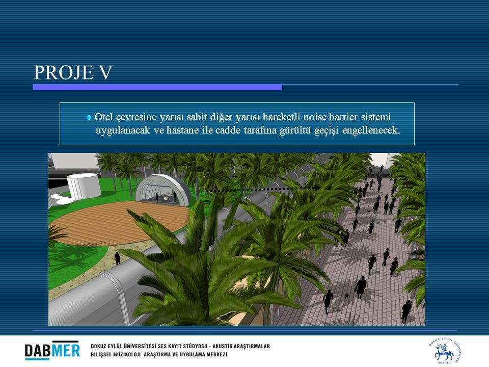 ● Otel çevresine yarısı sabit diğer yarısı hareketli noise barrier sistemi uygulanacak ve hastane ile cadde tarafına gürültü geçişi engellenecek. PROJ
