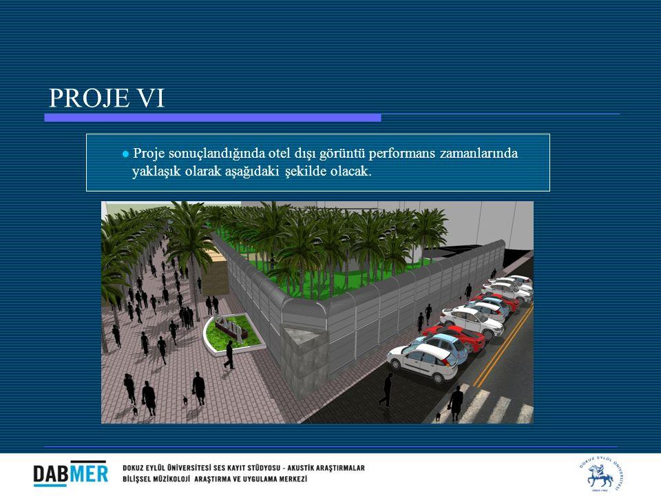 ● Proje sonuçlandığında otel dışı görüntü performans zamanlarında yaklaşık olarak aşağıdaki şekilde olacak. PROJE VI