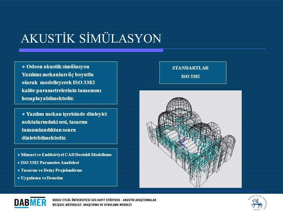 AKUSTİK SİMÜLASYON ● Odeon akustik simülasyon Yazılımı mekanları üç boyutlu olarak modelleyerek ISO 3382 kalite parametrelerinin tamamını hesaplayabil