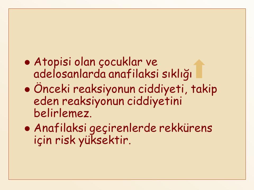 Anafilaksinin risk faktörlerinin bilinmesi anafilaksiden korunmada önemlidir.