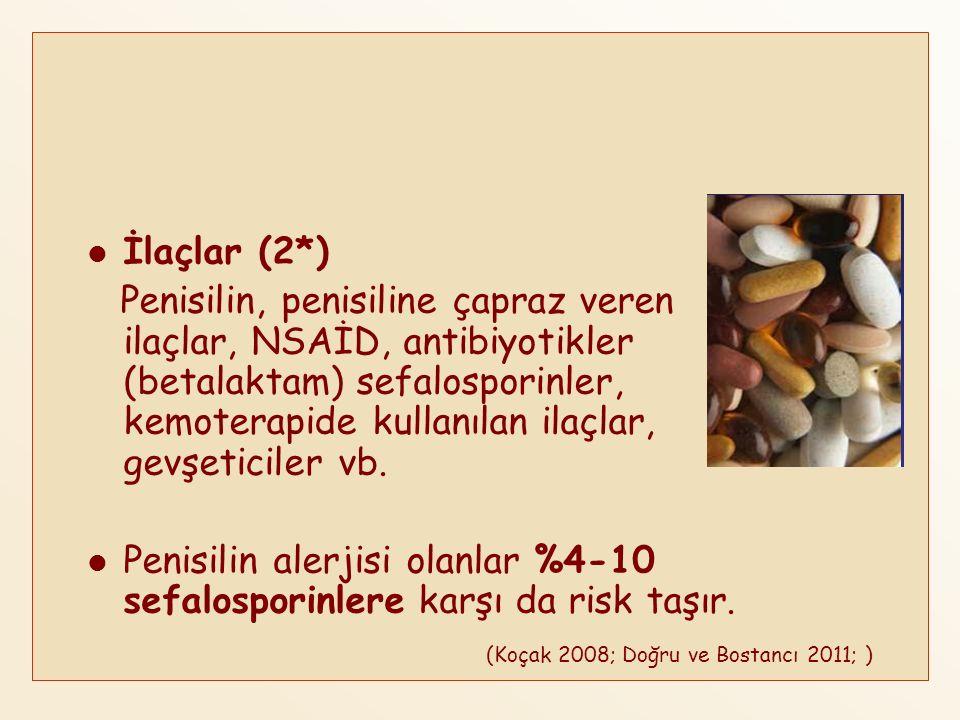 İlaçlar (2*) Penisilin, penisiline çapraz veren ilaçlar, NSAİD, antibiyotikler (betalaktam) sefalosporinler, kemoterapide kullanılan ilaçlar, gevşetic