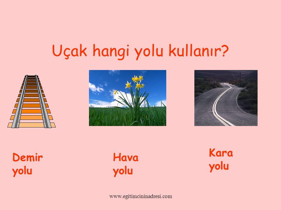 Uçak hangi yolu kullanır? Demir yolu Hava yolu Kara yolu www.egitimcininadresi.com