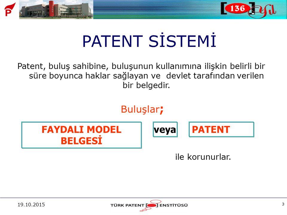 19.10.2015 3 Patent, buluş sahibine, buluşunun kullanımına ilişkin belirli bir süre boyunca haklar sağlayan ve devlet tarafından verilen bir belgedir.