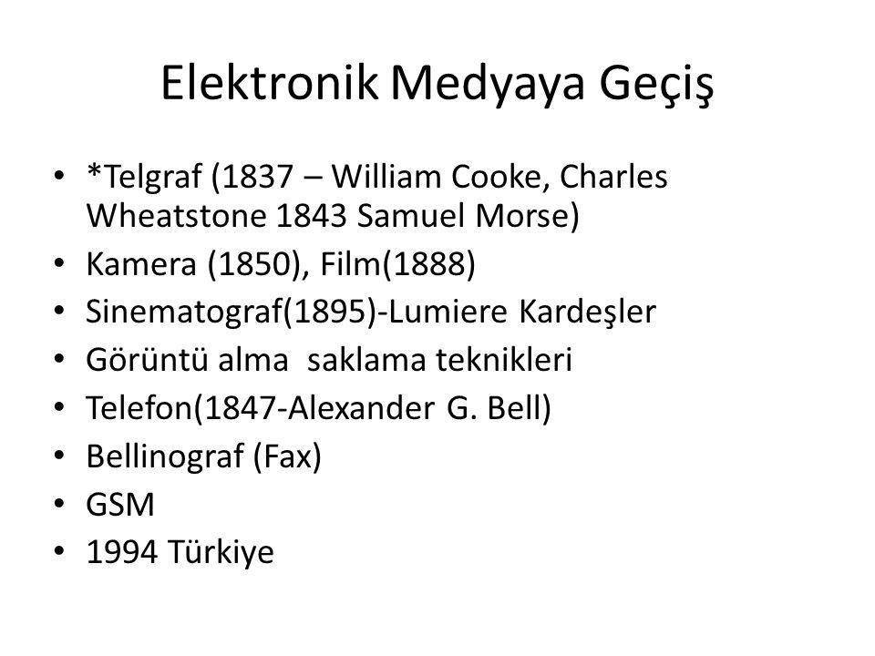 Elektronik Medyaya Geçiş *Telgraf (1837 – William Cooke, Charles Wheatstone 1843 Samuel Morse) Kamera (1850), Film(1888) Sinematograf(1895)-Lumiere Ka