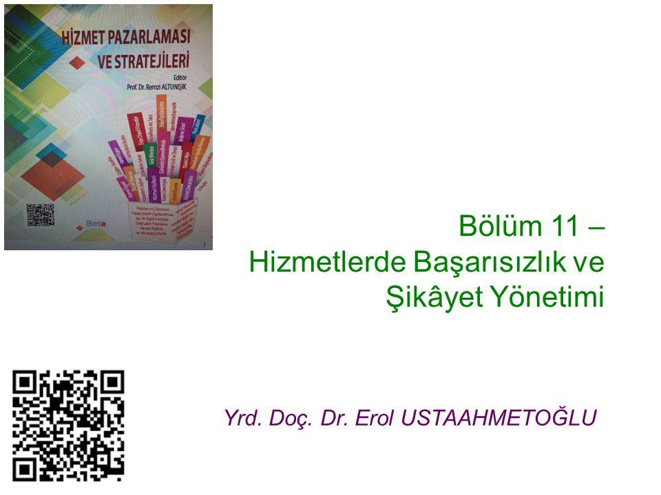 Bölüm 11 – Hizmetlerde Başarısızlık ve Şikâyet Yönetimi Yrd. Doç. Dr. Erol USTAAHMETOĞLU