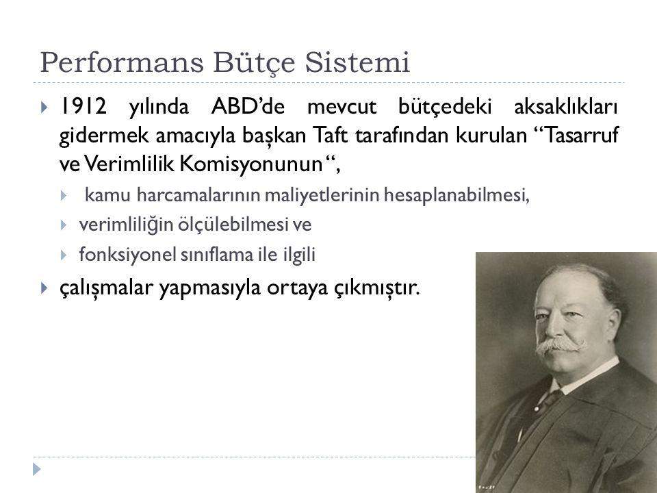 """Performans Bütçe Sistemi  1912 yılında ABD'de mevcut bütçedeki aksaklıkları gidermek amacıyla başkan Taft tarafından kurulan """"Tasarruf ve Verimlilik"""
