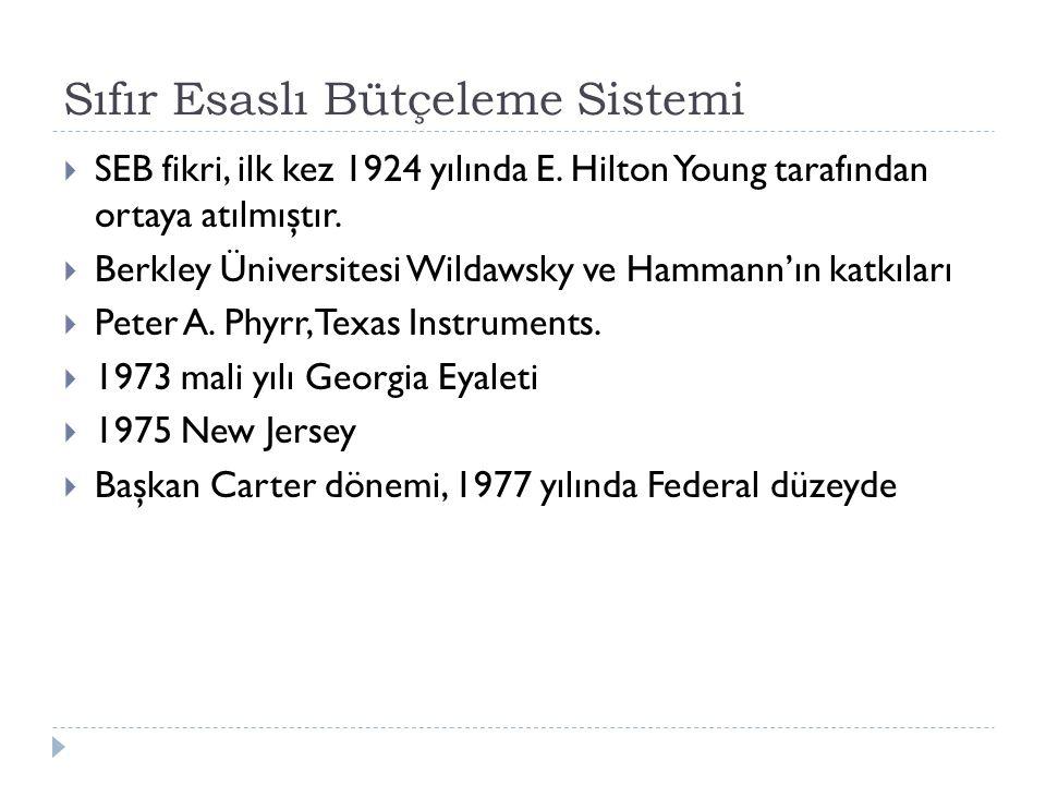 Sıfır Esaslı Bütçeleme Sistemi  SEB fikri, ilk kez 1924 yılında E. Hilton Young tarafından ortaya atılmıştır.  Berkley Üniversitesi Wildawsky ve Ham