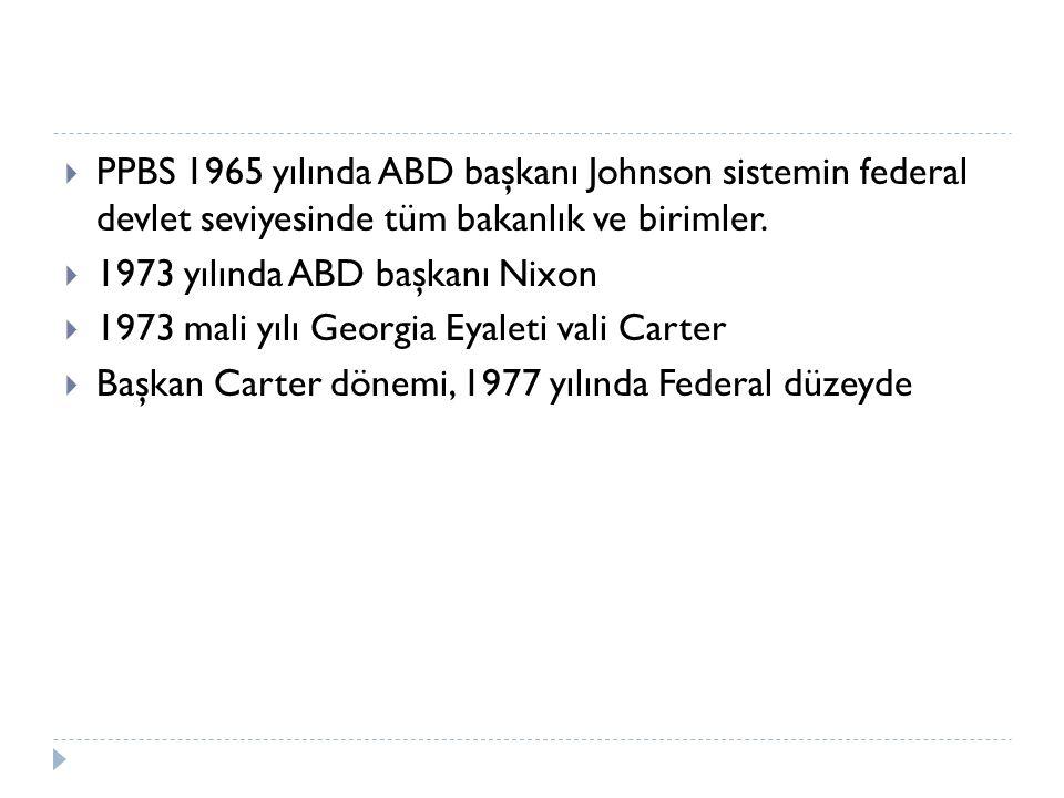  PPBS 1965 yılında ABD başkanı Johnson sistemin federal devlet seviyesinde tüm bakanlık ve birimler.  1973 yılında ABD başkanı Nixon  1973 mali yıl