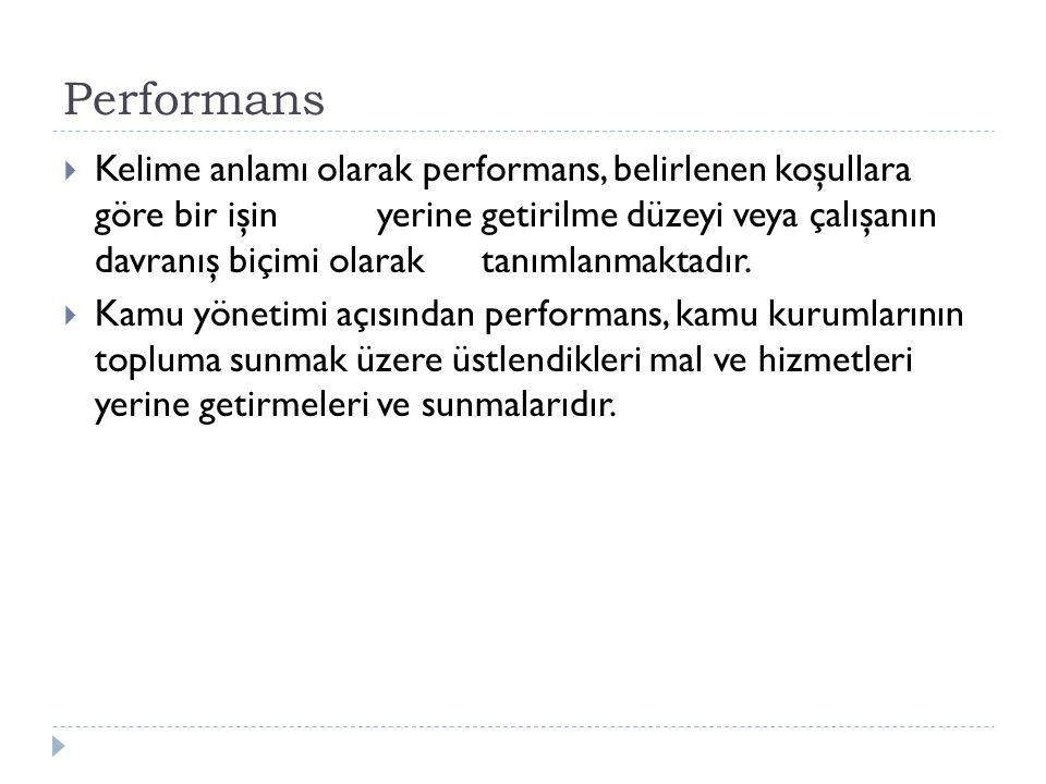 Performans  Kelime anlamı olarak performans, belirlenen koşullara göre bir işinyerine getirilme düzeyi veya çalışanın davranış biçimi olaraktanımlanm