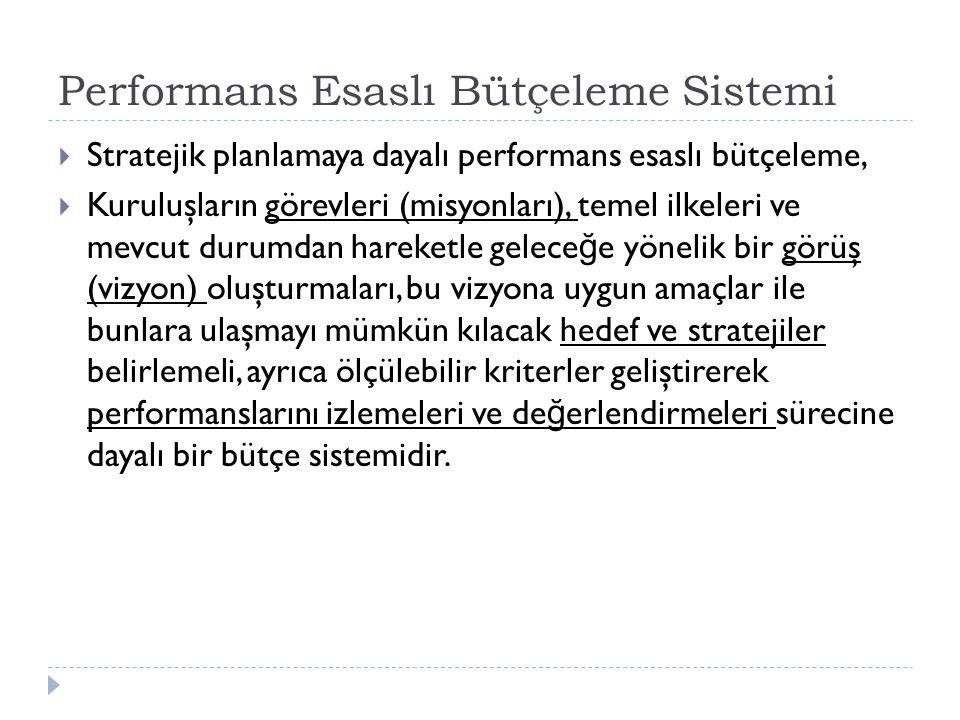 Performans Esaslı Bütçeleme Sistemi  Stratejik planlamaya dayalı performans esaslı bütçeleme,  Kuruluşların görevleri (misyonları), temel ilkeleri v