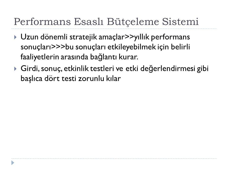 Performans Esaslı Bütçeleme Sistemi  Uzun dönemli stratejik amaçlar>>yıllık performans sonuçları>>>bu sonuçları etkileyebilmek için belirli faaliyetl