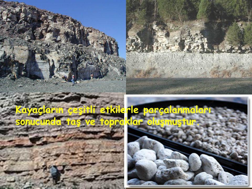 Kayaçların çeşitli etkilerle parçalanmaları sonucunda taş ve topraklar oluşmuştur.