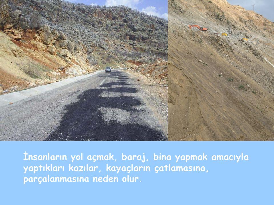 İnsanların yol açmak, baraj, bina yapmak amacıyla yaptıkları kazılar, kayaçların çatlamasına, parçalanmasına neden olur.