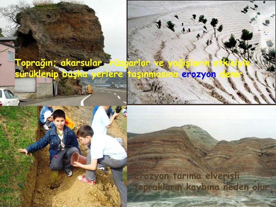 Toprağın; akarsular, rüzgarlar ve yağışların etkisiyle sürüklenip başka yerlere taşınmasına erozyon denir.